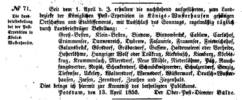 Amtsblatt 20. April 1855